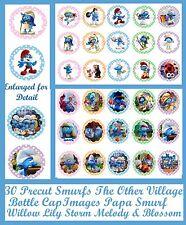 "30 PRECUT Smurf 3 The Other Village Smurfette Papa Smurf 1"" Bottle Cap Images"