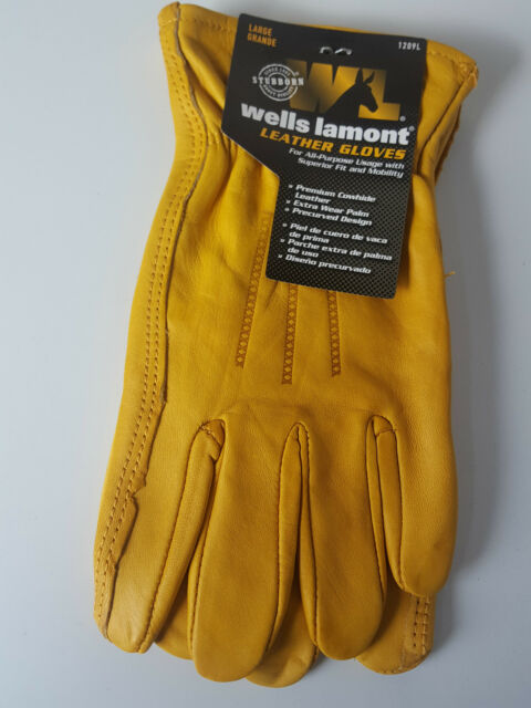 Large Size 9 Wells Lamont Premium Leather Mens Work Gloves