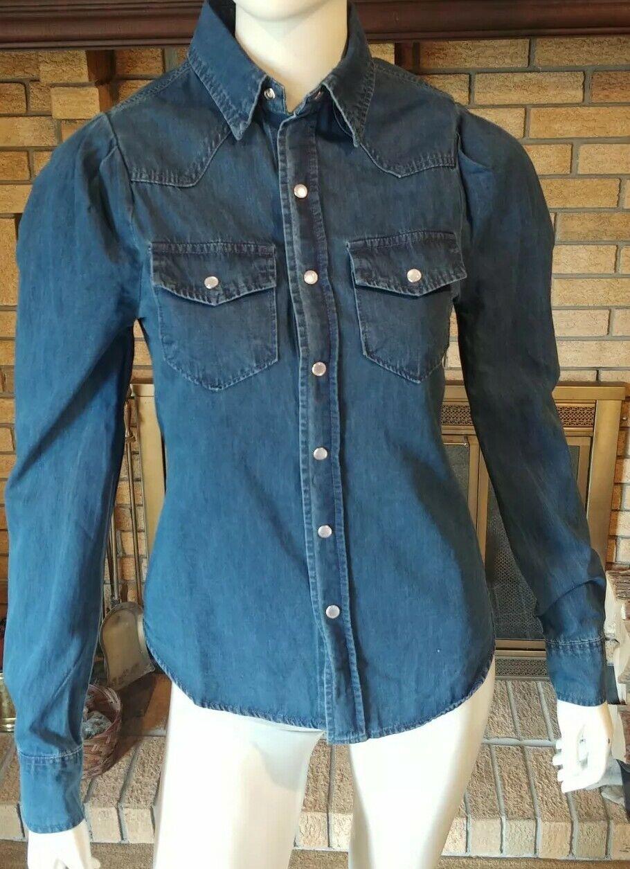 TORN BY RONNY KOBO Long sleeve Puff Shoulder bluee Denim Shirt NWT  Size XS