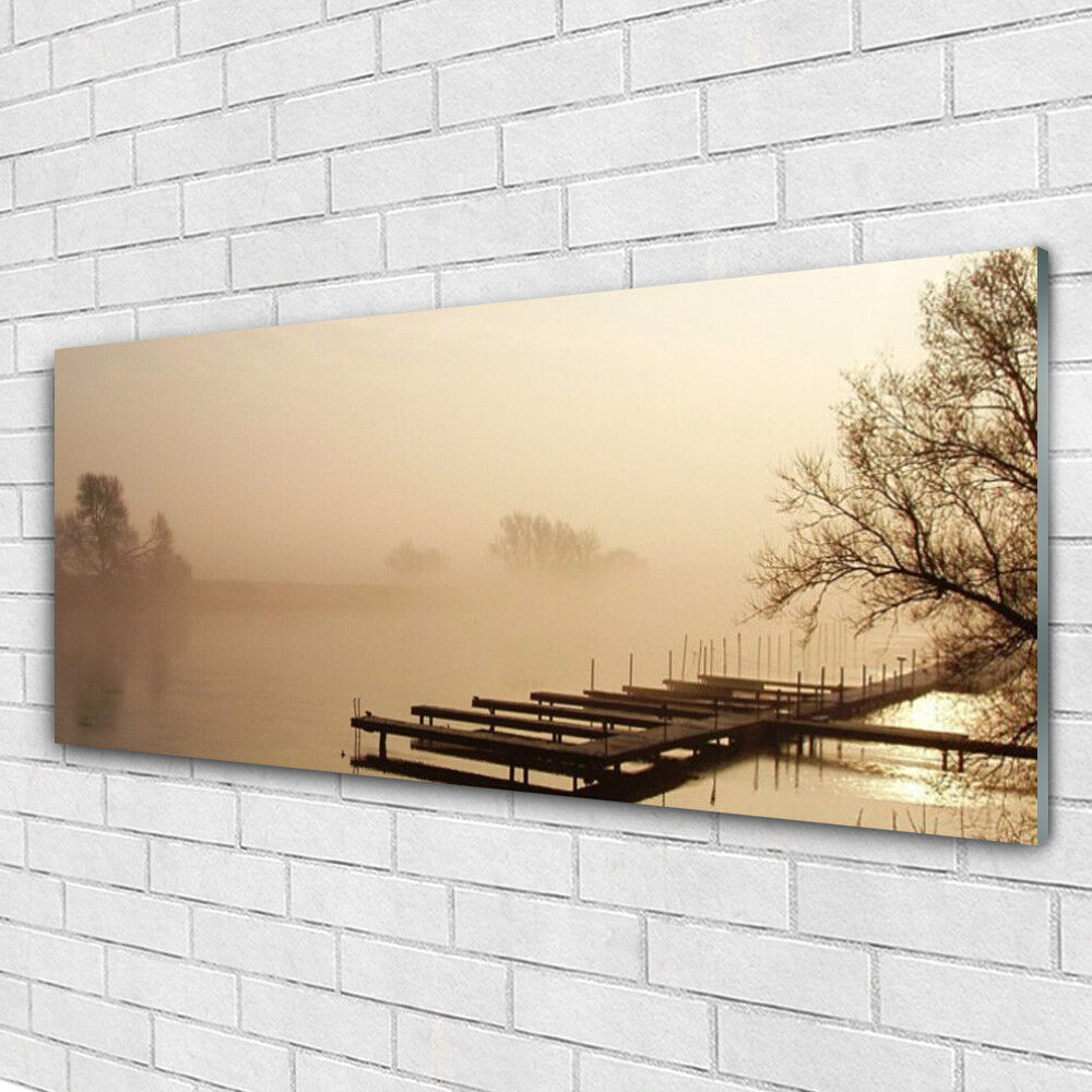 Impression sur verre Wall Art 125x50 Photo Image Bridge water Mist paysage