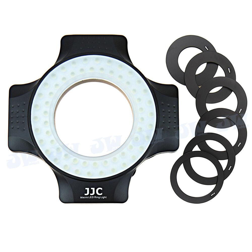 Universal LED Macro Flash Ring Light for Camera Lens, 6pcs Filter Thread Adapter