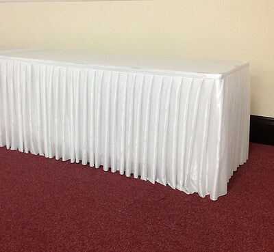 8M Top-Table Skirt Quality White Fabric Table Skirt with Velcro Clips (24ft)