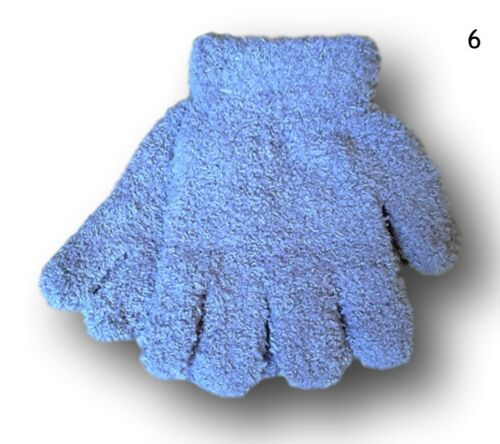 Boys Kids Children Winter Warm Fluffy Plain Gloves 5-6 Years 7-8 Years
