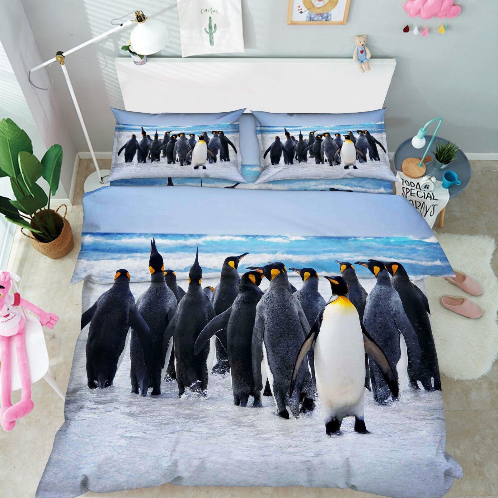 3D Glacier Penguin 66 Bed Pillowcases Quilt Duvet Cover Set Single King UK Lemon