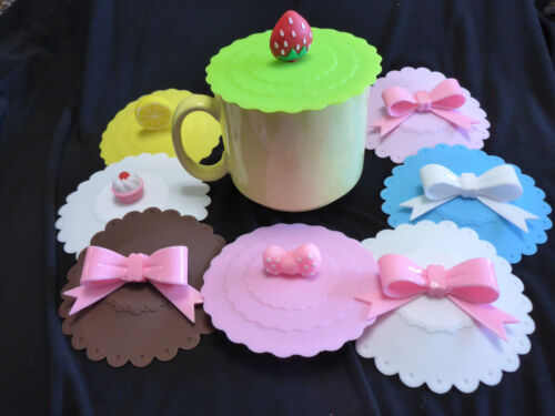 Silicone Tea Cup Cover Coffee Mug Cosey Ribbon Bows Pink Blue Chocolate Cup Cake
