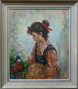 PROF-FRANCO-RISPOLI-ITALIAN-1921-1989-SIGNED-OIL-PAINTING-GIRL-WITH-FLOWERS
