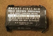 WW2 US Army Military First Aid Packet Field Brown Dressing Carlisle Bandage