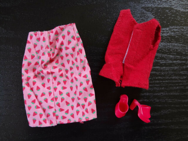 Barbie Doll Fashion Clothes Open Toe Shoe Strawberry Skirt Red Shirt Top Heels