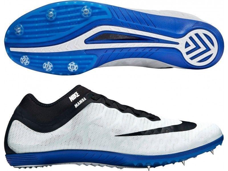 New Mens Nike MAMBA 3 Spikes Steeplechase Shoes White Black Blue 706617-100