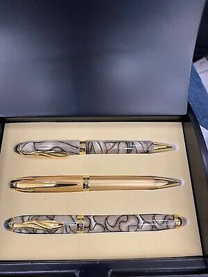 Montefiore Rollerball//ball Pen Set Includes 3 Pens And Black Lacquer Display Box