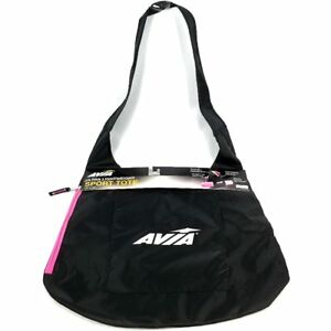 Avia Sport Tote Yoga Work Out Bag Ultra Lightweight Black Pink Zipper 18 X16