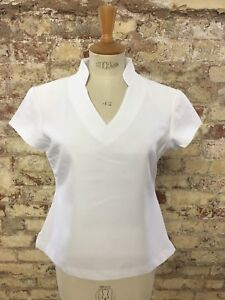 *sale* White V Neck Fully Lined Polyester Beautician/healthcare Tunic - Size 20