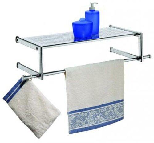 WENKO Wandregal mit Handtuchstange Badregal Badablage Bad Regal Handtuchhalter