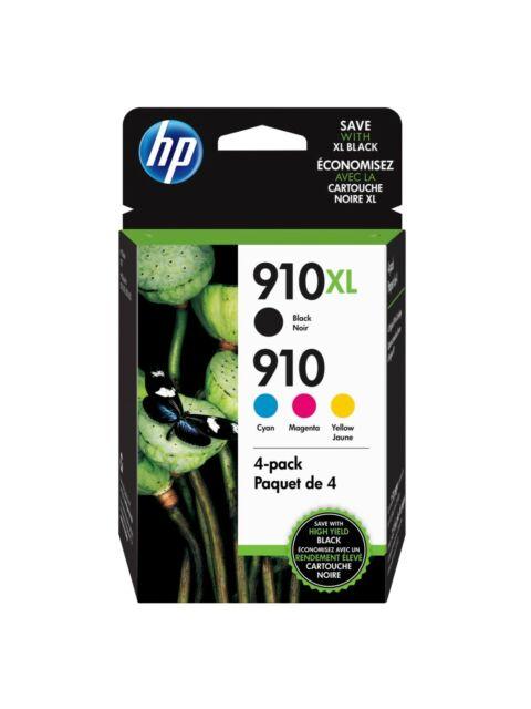 HP Genuine 910XL Black & 910 Cyan Magenta Yellow INK 4 PACK