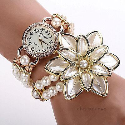 Women Flower Faux Pearl Band Rhinestone Bracelet Bangle Dial Quartz Wrist Watch