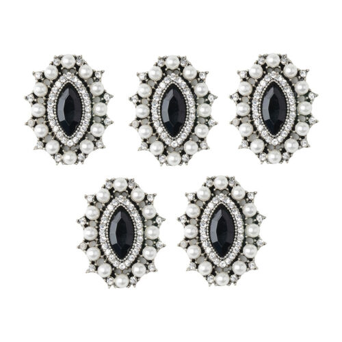 5x Alloy Crystal Pearl Oval Flatback Crafts Buttons Scrapbook Embellishments