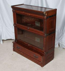 Antique-Mahogany-Bookcase-Beveled-Glass-Ideal-Globe-Wernicke-Co