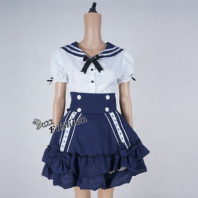 New Lolita Navy Suit French Maid Stylish Girl Style Anime Cosplay Dress Costume