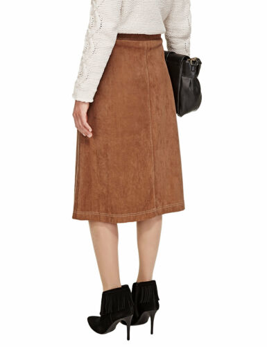New M/&S Per Una Tan Faux Suede  A-line  Skirt Sz UK 8 10