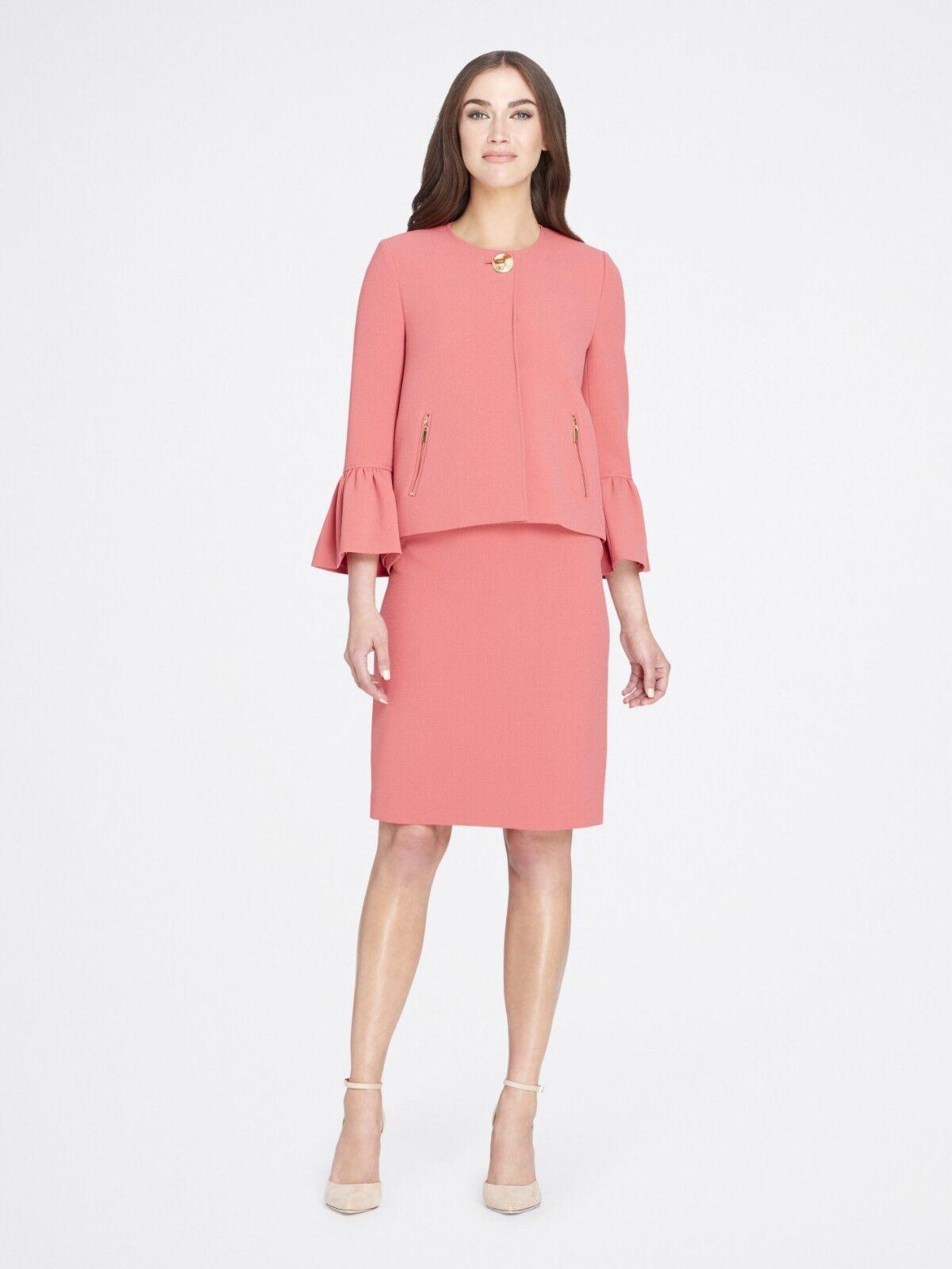 Tahari Trumpet-Sleeve Crepe Skirt Suit Coral Reef Petite Size 8P   280