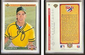 David Zancanaro Signed 1992 Upper Deck #54 Card Oakland Athletics Auto Autograph