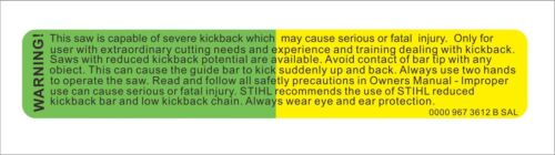 1PC STIHL Warning Label Yellow /& Green Decal Vinyl Car Hard Hat Decor Sticker MP