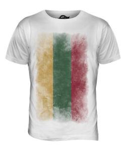 Lituania-bandiera-Sbiadito-Da-Uomo-T-Shirt-Tee-Top-Camicia-CALCIO-Lietuva-Lituania