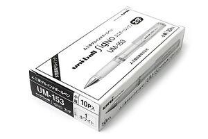 10 x UNI-BALL SIGNO impact White Gel Pen Pigment Ink 1.0mm One box 10 pcs.