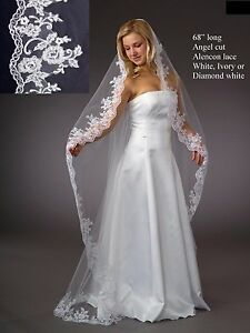 Image Is Loading Alencon Lace Edge Chapel Floor Cathedral Length Bridal