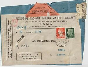 ITALY CUT OF REGISTERED POSTAL PACK WITH REFUND check FROM BUSTO ARSIZIO X USCIO - Italia - ITALY CUT OF REGISTERED POSTAL PACK WITH REFUND check FROM BUSTO ARSIZIO X USCIO - Italia
