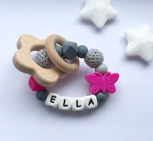Baby Silicone Ring - Teething Rattle - Crochet Teether - Chew Toy - Fushia