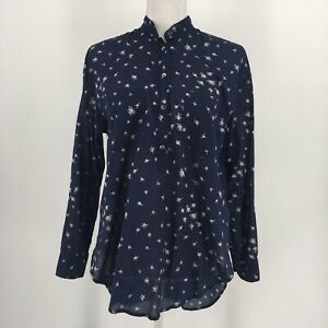 Madewell-Top-Collarless-Popover-Tunic-Long-Sleeve-Navy-Floral-High-Low-Size-XS