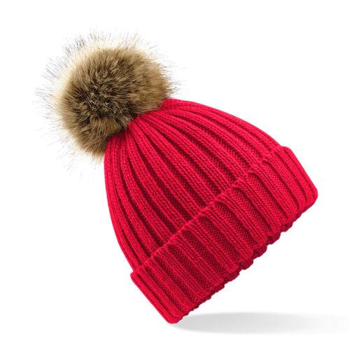 Adults Warm Soft Chunky Knit Ski Hat Beanie with Faux Fir Fur Bobble Pom Pom