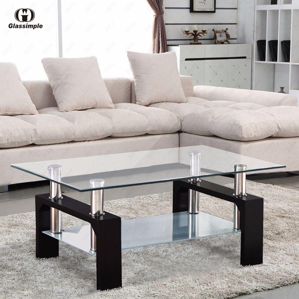s l1600 Rectangular Glass Coffee Table Shelf Chrome Black Wood Living Room Furniture