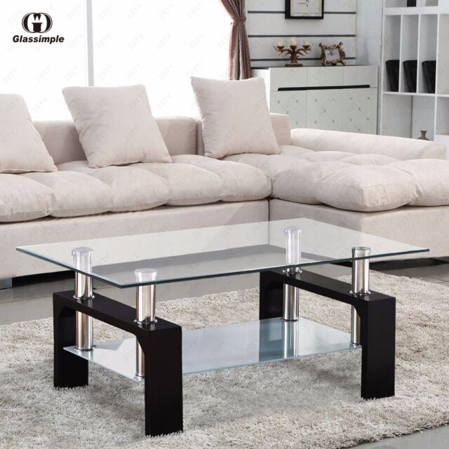 Miraculous Modern Glass Coffee Table With Shelf Black Leg Rectangular Living Room Furniture Inzonedesignstudio Interior Chair Design Inzonedesignstudiocom