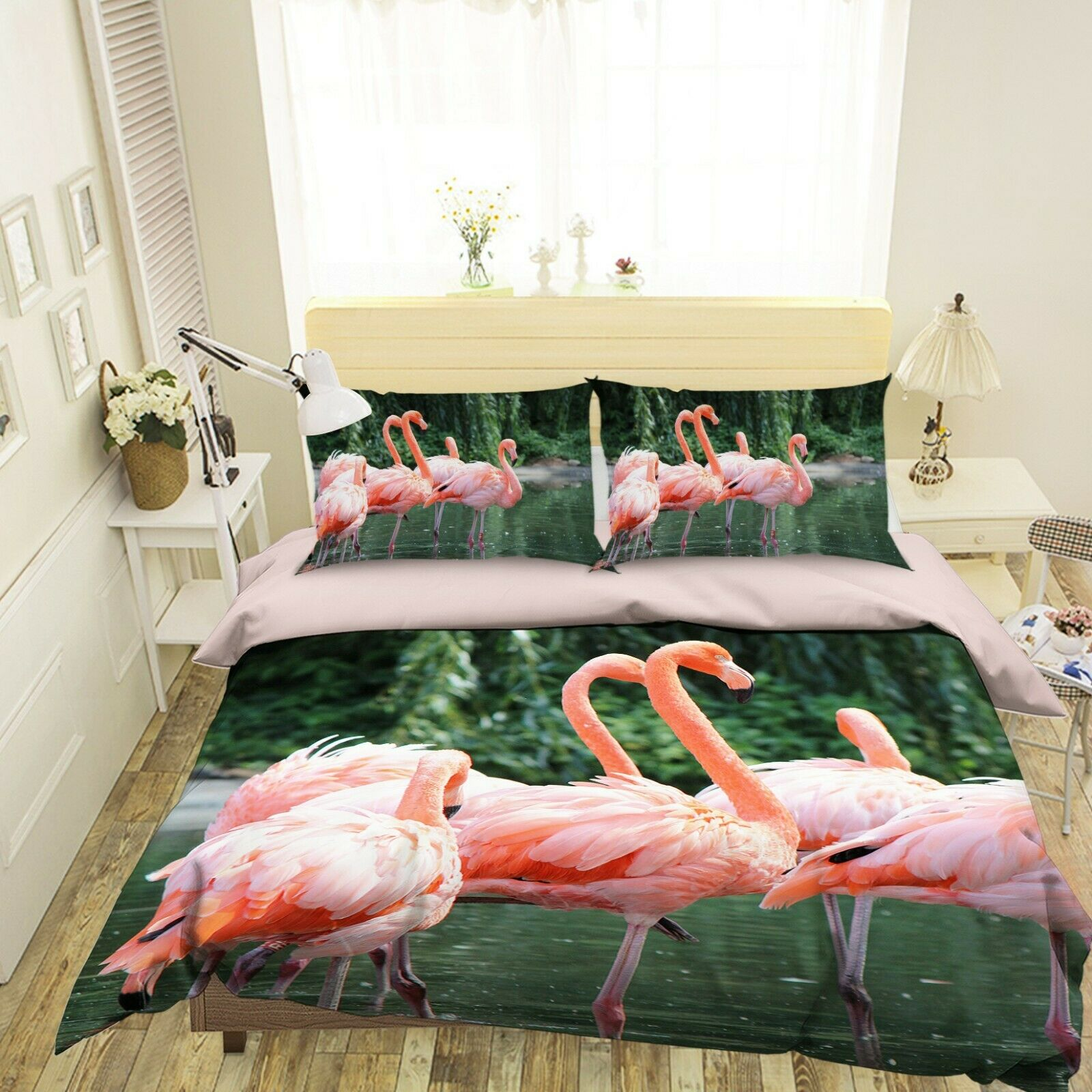 3D Flamingos T033 Animal Bed Pillowcases Quilt Duvet Cover Set Queen King Sunday