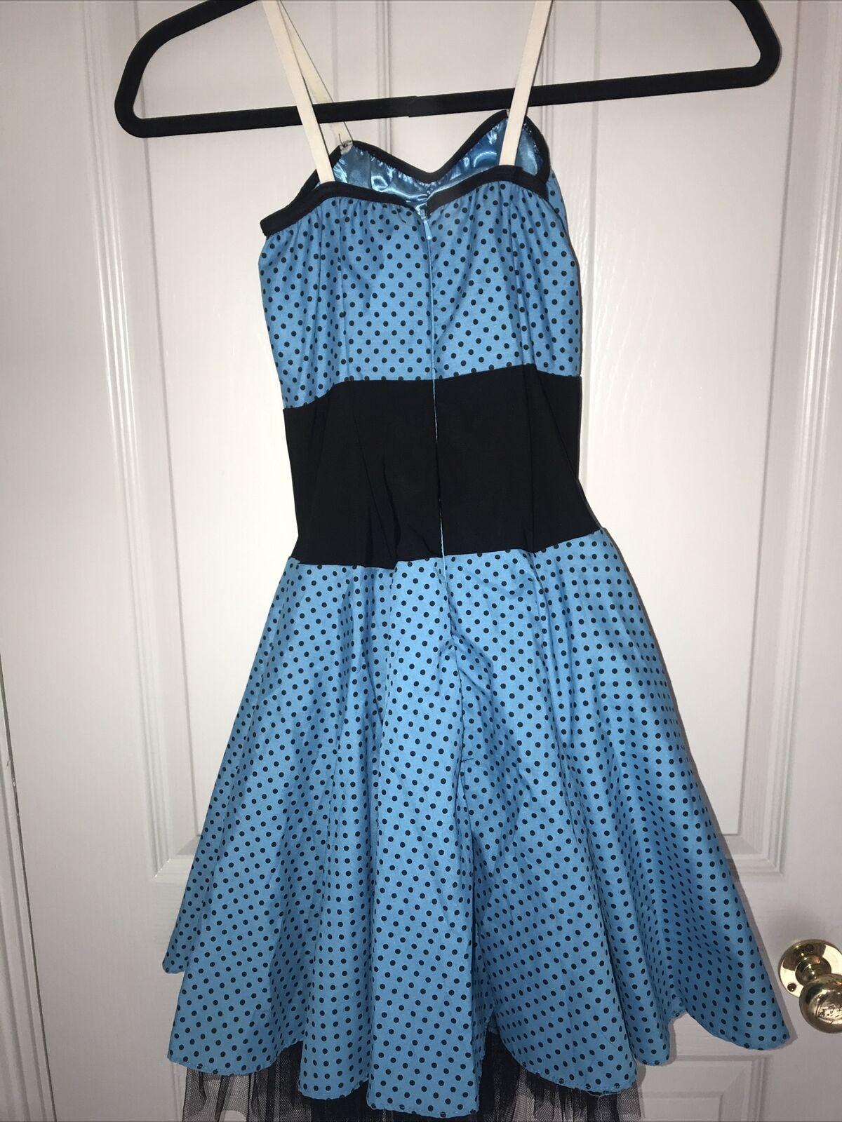 Dance costume one piece dress tutu polka dot blue and black W Matching Headband