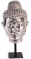 15 Buddha Spiritual Head Silver Leaf Figure Statue Sculpture Chrome Figurine