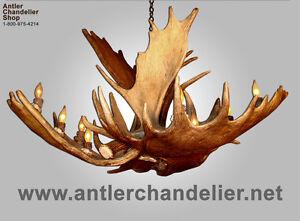 REAL ANTLER MOOSE SINGLE TIER DEER CHANDELIER, MOOSESNGLTR, RUSTIC LAMPS