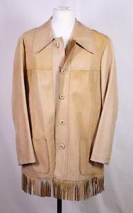T21-2-Old-Shatterhand-Fransen-Jacke-Leder-braun-Gr-50-52-Cowboy-Western-Vintage