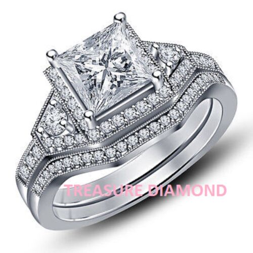 2Ct Brilliant Princess Cut Diamond Engagement Ring In Solid 14K White Gold