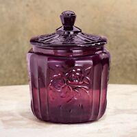 Large Purple Depression Style Glass Container Jar Kitchen Bath Organizer W/ Lid