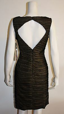 $150 Adrianna Papell Evening Gold Ruched Diamond Cut Out Back Stretch Dress NWT