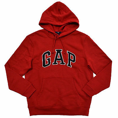 Gap Hoodie Mens Pullover Sweatshirt Fleece Lined Applique Arch Logo Jacket New