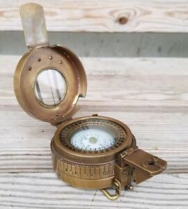 Solid-Brass-Nautical-British-Military-Prismatic-Pocket-Compass-Vintage-Gift
