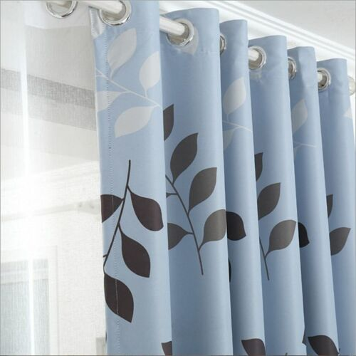 Blockout Eyelet Curtain Country Style Leaves Light Blue Bedroom 240cm x 230cm