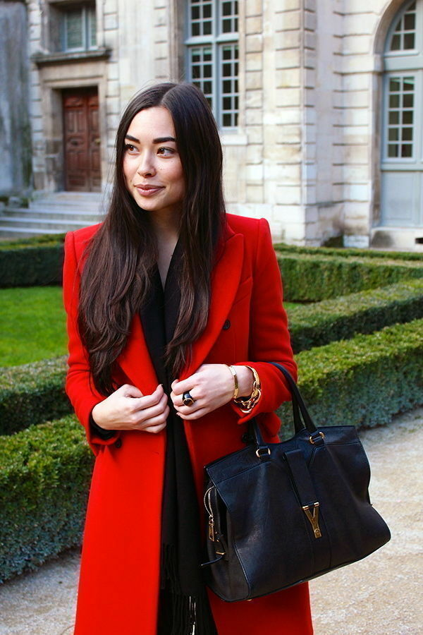 Zara double breasted red tailored wool coat bloggers sold out Small S
