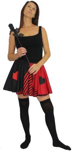 Donna Regina di Cuori Rosso A Righe Skater Gonna Wunderland Costume