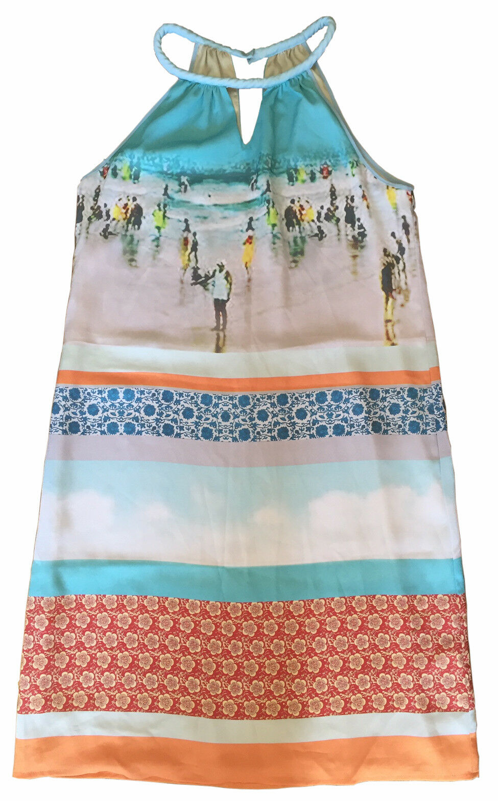 ANTHROPOLOGIE DREAM DAILY Rozae Nichols Inkjet Halter Dress Beach Scene Größe S