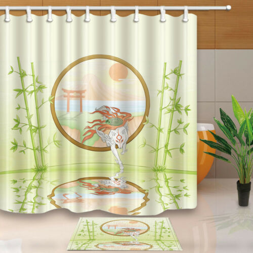 Japan Spa Decor Torii And Bamboo Bathroom Fabric Shower Curtain Waterproof  71/""